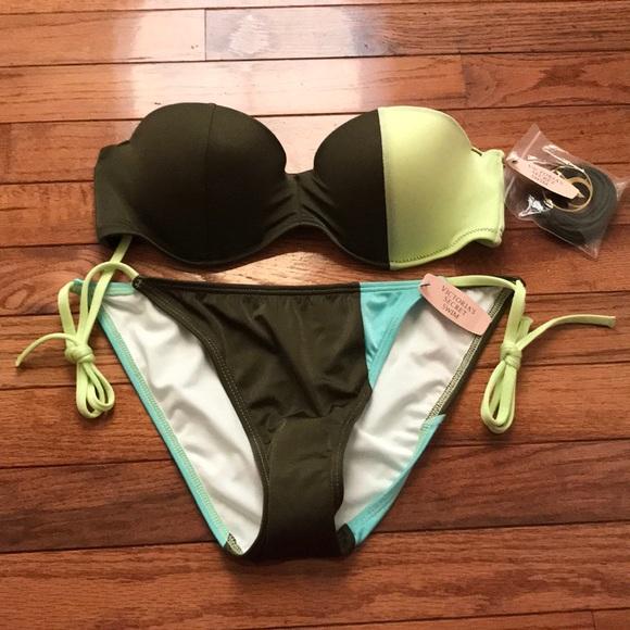 14f732d175e83 Victoria's Secret Flirt Bandeau Colorblock Bikini NWT